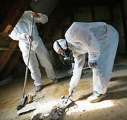 Asbestbeseitigung in Schutzmontur. (Bild: Susann Basler (28. März 2007))