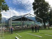 Die Aufbauarbeiten auf dem Landenberg laufen. (Bild: PD)