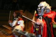 Die Guggenmusik Eibeler Sträggele aus Inwil beim Auftritt. (Bild Chris Iseli/Neue LZ)