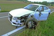 Massiver Aufprall: Das entgegenkommende Auto nach dem Unfall. (Bild: Luzerner Polizei)