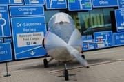 Kampfjet im Verkehrshaus Luzern für die neue Sonderausstellung «Die Schweiz fliegt!», die Ende März beginnt. (Bild: Lucien Rahm (Luzern, 26. Januar 2018))