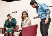 Connie Buss (links), Jasmin King und Adrian Gehrig im Stück «Katharina die Kühne». (Bild: Nadia Schärli (Hellbühl, 24. Februar 2018))