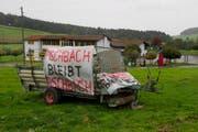 So reagierte ein Bauer im Jahr 2011 auf die Ankündigung eines Asylzentrums in Fischbach. (Bild: Keystone / Sigi Tischler (Archiv))
