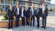 Von links: Heinz Schumacher (Gemeindepräsident Root), Max Hess (Gemeindepräsident Dierikon), Käthy Ruckli (Gemeindepräsidentin Buchrain), Alois Muri (Gemeindepräsident Gisikon), Amadé Koller (Gemeindepräsident Honau), Daniel Gasser (Gemeindepräsident Ebikon) und Pius Zängerle (Präsident LuzernPlus). (Bild: PD)