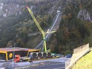 Der Transport am Mittwoch bei der Talstation im Schlattli. (Bild: PD/Stoosbahnen)