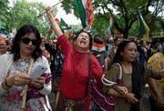 Demonstration in Neu-Delhi für die Gründung von «Gorkhaland». (Bild: Tsering Topgyal/Keystone (18. Juni 2017))