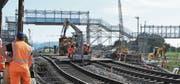 Die Baustelle des Bahntunnels Rastatt: Sieben Wochen lang war die Rheintalstrecke gesperrt. (Bild: Uli Deck/Keystone (Rastatt, 23. August 2017))