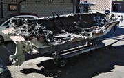 Totalschaden: das Wrack des Motorbootes. (Bild: PD)