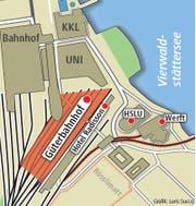 Der Güterbahnhof Luzern: Hier hätten die Gästefans auf Busse umsteigen sollen, die sie zur Allmend bringen. (Bild: Neue LZ)