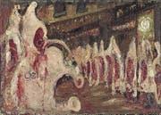 Eine der Facetten der Beziehung von Mensch und Tier: Der Schlachthof in «Les Halles di Parigi» von Willy Guggenheim, 1949–51. (Bild: Kunstmuseum)