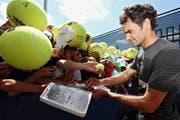 Drei New Yorker Titelkandidaten neben Roger Federer (von links): Novak Djokovic, Andy Murray und Stan Wawrinka. (Bild: Keystone/Tannen Maury/Nick Wass)