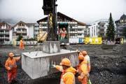 Die Bauwirtschaft im Kanton Obwalden dürfte sich in diesem Jahr etwas abschwächen. Im Bild: Die Baustelle beim Bahnhof Engelberg (Symbolbild). (Bild: Corinne Glanzmann)
