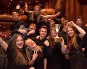 Die Gewinner in der Kategorie der 4. Klasse: Die Hinterländer Jugend Brass Band freut sich über ihren Sieg. (Bild: Philippe Dutoit)