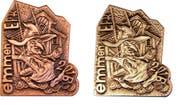 Die Emmer Fasnachtsplaketten in Kupfer (links) und Silber. (Bild: PD)