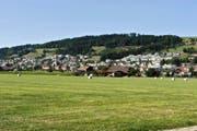 Blick auf Wauwil (rechts) und Egolzwil – zwei Gemeinden am Fusse des Santenbergs. Die Pfarrkirche Herz Jesu steht in der Mitte der beiden Dörfer. (Bild Nadia Schärli)