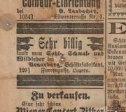 Werbeinserat der Firma Vonarburg im Luzerner Tagblatt vom 23. Januar 1896. (Bild: zvg.)