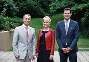 Das Dreierticket der FDP (von links): Ignazio Cassis, Isabelle Moret und Pierre Maudet. (Bild: Stefan Kaiser (Zug, 21. August 2017))