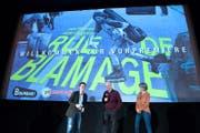 Thomas Thümea, Aldo Gugolz (Regieseur) und Christina Caruso an der Premiere des Dokfilm Rue de blamage, über die Baselstrasse. (Bild: Eveline Beerkircher (Luzern, 2. April 2017))
