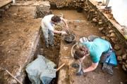 In Triengen bei der Steiger AG wird ein römischer Gutshof ausgegraben. (Bild: Roger Grütter/LZ (Triengen, 13.07.2017))