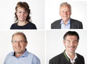 Die Finalisten der Wahl «Rüüdige Lozärner» 2017 von Radio Pilatus (von oben links im Uhrzeigersinn): Erika Burkard, Max Plüss, Pädi Widmer und Walti Stadelmann. (Bild: Radio Pilatus)