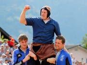 Endlich der verdiente Triumph für Lutz Scheuber (Bild: KEYSTONE/ALEXANDRA WEY)