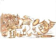 Illustration von Andrey Fedorchenko aus der «Seetaler Drachen-Saga»: Der Drachenforscher mit seinen Forschungsgeräten. (Bild: PD)