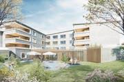 Visualisierung: So soll das sanierte Pflegezentrum Luegeten in Menzingen dereinst aussehen. (Bild: PD)