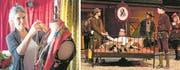 Links: Kostümbildnerin Anna Maria Glaudemans bei den Vorbereitungen. Rechts: Szene aus dem Malterser Freilichtspiel. (Bilder: Roger Grütter (6. Juni 2017), PD)