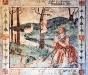 Einzige Ausnahme ist das letzte Bild an der Südwand. Es zeigt die Gründungslegende der Kirche St. Wolfgang. (Bild: Andreas Faessler)