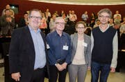 Sie wurden als neue Mitglieder an der Synode vereidigt (von links): Urs Ebnöther (Rothenburg), Emil Banz (Luzern), Susan Schärli (Beromünster) und Lukas Briellmann (Root). (Bild PD)