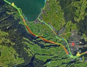 Stau in beiden Fahrrichtungen auf der Autobahn zwischen Goldau und Küssnacht kurz nach 10 Uhr. (Bild: Google Maps)