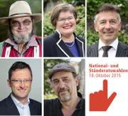 Sie treten im Kanton Nidwalden an: Die Ständeratskandidaten Josef Käslin, Therese Rotzer und Hans Wicki (oben von links) sowie die Nationalratskandidaten Peter Keller und Andreas Fagetti (unten von links). (Bilder Neue NZ)