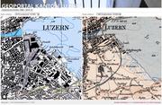 Das Stadtzentrum auf der Siegfriedkarte von 1880 und heute (Bild: Screenshot Geoportal Kanton Luzern)