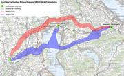 Mal durch den See, mal im Bogen um die Siedlungsgebiete: Zwei ungefähre Varianten für die Erdverlegung einer Stromleitung. (Bild: Grafik PD/Baudirektion des Kantons Zug)