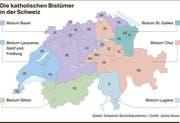 Diese Grafik zeigt die katholischen Bistümer in der Schweiz.