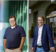Seriengründer Axel Schultze (links) vor dem KKL Luzern, und Hochschuldozent René Zeier (rechts) vor dem Hotel Schweizerhof. (Bild: Beerkircher,Wunderli/LZ)