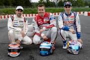 Haben Chancen auf den Sieg: Neel Jani (Porsche), Marcel Fässler (Audi) und Sébastien Buemi (Toyota). (Bild: Keystone / Jean-Christophe Bott)