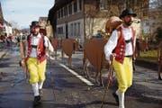 Auch die Appenzeller zogen durch Schachen mit ihren Kühen aus Holz. (Bild: Hannes Bucher (Schachen, 25. Februar 2017))