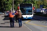 Die Unfallstelle beim Schlossberg in der Stadt Luzern. (Bild: Leserreporter)