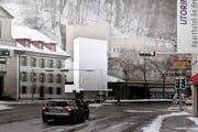 Das markante Gesicht der Talstation der neuen Gütsch-Bahn wird eine elf Meter hohe Wand mit dem Gütsch-Schriftzug. (Bild: PD)
