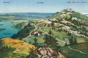 Hübsch kolorierter Blick von Rigi-Staffel: Rigi-Kulm, der Zuger und der Zürichsee. Ansicht auf einer Postkarte. (Bild: PD/Regionalmuseum Vitznau-Rigi)