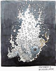 Ein Taucher im freien Fall: Die Zeichnung stammt von Kunststudent Kai Müri zum Thema «unter Wasser». (Bild: instagram.com/kaimueri)