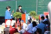 Bezirksammann Toni Waldis hielt bei der Quaianlage seine 1.-August-Ansprache. (Bild Irene Infanger)