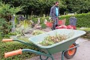 Die Zahl der arbeitstätigen Flüchtlinge in der Schweiz ist tief. Im Bild: Flüchtlinge kümmern sich auf dem Friedhof Bois-de-Vaux in Lausanne um die Grabpflege. (Bild: Keystone)