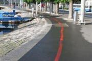 Die rote Linie beim Schweizerhofquai. (Bild: pd)
