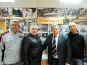 Als Liquidatoren im Einsatz: (v. l.) Wjatscheslaw Filonow, Wladimir Pawlow, Wladimir Naumow und Sergei Aldochin im Tschernobyl-Museum in Tula. (Bild Stefan Scholl)