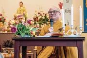 Abt Bhiksu Thich Nhu Tu während der Zeremonie des buddhistischen Vollmondfestes. (Bild: Nadia Schärli (Nebikon, 3. März 2018))