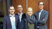 Die Ruch Metallbau AG bleibt auch für die kommenden Jahre mehrheitlich in der Hand der Familie Ruch: (v. l.) Matthias Ruch, Andreas Ruch, Martina Ruch, Stephan Baumann. (Bild: PD)