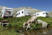 Camper geniessen die Natur beim Gotthard-Hospiz.