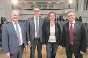 Joe Christen, Niklaus Reinhard, Michèle Blöchliger und Conrad Wagner wollen neu in den Regierungsrat. (Bild: Urs Flüeler/Keystone)
